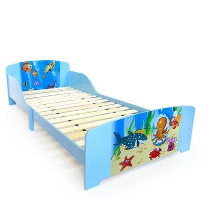 Gyermek ágykeret, 90x200 cm, tengeri élővilág, világoskék - SEALIFE